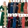 Vintage Women Embroidery Abaya Velvet Long Dress Muslim Islamic Jilbab Kaftan