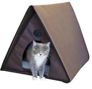 KH Pet Products Outdoor Heated Multiple Kitty Cat House Kennel Bed Crate