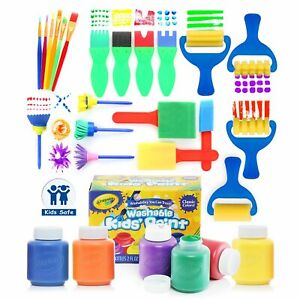 Glokers Early Learning Kids Paint Set, 21 Paint Brushes Set With 6 Crayola Paint