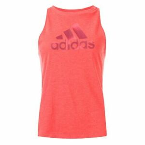 Women's adidas Boxy Badge Of Sport Crew Neck Breathable Tank Top in Red