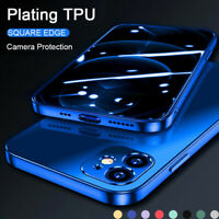 Plating Soft Shockproof Clear Case For iPhone 12 11 Pro Max 12 Mini XS XR 8 7 SE