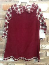 STRASBURG GIRL SHIRT & DRESS Jumper SET~3Y~Corduroy BURGUNDY PLAID~NEW