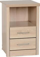 Seconique Lisbon 2 Drawer 1 Shelf Bedside Cabinet - Light Oak Effect