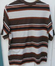 "Vintage 70'S ""Hang 10 Brown & Tan Stripe Men'S Short Sleeve Tee Size Large"
