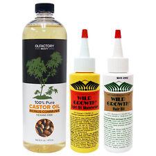 Wild Growth Hair Oil 4oz,Light Oil Moisturizer 4oz & Olfactory100%CastorOil 16oz