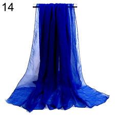 2 pcs Women Ladies Long Chiffon scarf cover wrap 162cm x 70cm Nylon Dark Blue