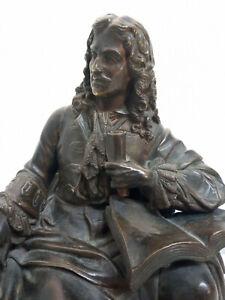 Statue en bronze Molière assis
