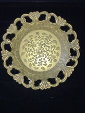 Asian Vintage Ornate Flower Design Brass Dish Tazza Bowl Reticulate Tray Heavy