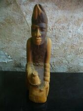 Vintage artist signed carved figure / African wood art,  Heavy wood.