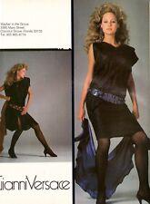 1982 Gianni Versace Print Advertisement Sexy Blonde Rosie Vela Legs Vintage 80s