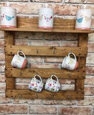 Wall Mug Rack holder Reclaimed wood pallet wood storage shelf rustic hooks