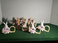 9 Ceramic Easter Decorations.  Bunny Rabbits PreOwned 3 Sets of 3