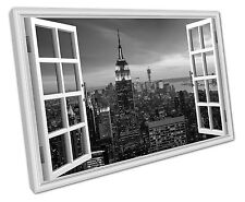 B & W WINDOW VIEW NEW YORK CITY CANVAS WALL ART PICTURE LARGE 75 X 50 CM
