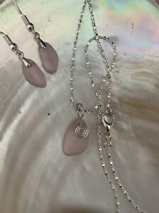 Seaglass Jewelry Gift Set, Sterling Silver. Handmade.