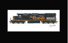 """Rio Grande SD40T-2 11""""x17"""" Matted Print Andy Fletcher signed"""