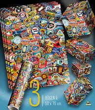 3 Arc Cadeau Papier Hôtel Valise Autocollant Design dans le Monde Entier Poster 50 x 70 cm