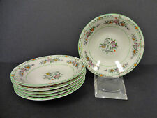 "Coxon Berry Bowls American Belleek China Green Floral 5 3/4"" Set of 6 Nice"