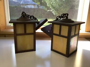 Pair Of Arroyo Craftsman Porch Ceiling Light Arts And Crafts Bungalow Slag Glass