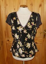 COUNTRY CASUALS black pink green floral SILK short sleeve tunic blouse top 14 42