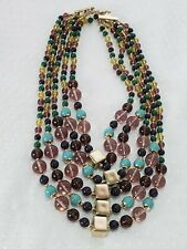TALBOTS Designer Mark T Multi Color / Strand Beaded Goldtone Necklace Beautiful