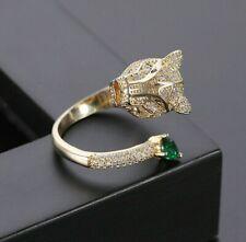 grande anello leopardo dorato con cristalli  - gold tone rhinestones animal ring