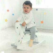 White Pony Grey Star Print Rocking Horse Toy Kids Playroom Ride On Wooden Rocker