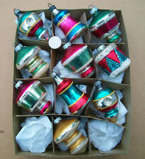 10 Vtg Glass Christmas STRIPED ORNAMENTS w Drum Lanterns Indents Bells UFOS Lot