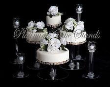 4 TIER CASCADE WEDDING CAKE STAND W/ 4  GLASS VOTIVE SET (STYLE R404)