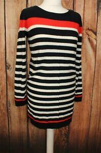 White Stuff Dress Ladies Knitwear Sweater Tunic Blue Mix UK 10 57% Wool