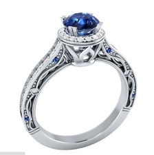 925 Silver Jewelry Round Cut Blue Sapphire Women Elegant Wedding Ring Size 9