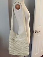 NEW The Sak Ivory Crochet Shoulder Bag Hobo Handbag Knit Cross body Purse Tote