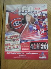 Montreal Canadiens 100 ans de souvenirs Journal Montreal Newspaper Insert # 1 ZQ
