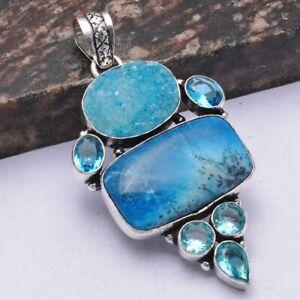 "Dendrite Opal Blue Druzy Ethnic Handmade Pendant Jewelry 2.08"" AP 42367"