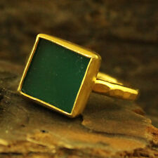 Handmade Hammered Designer Jade Ring 24K Gold Over 925K Sterling Silver