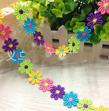 FD3057 Cute Daisy Floral Embroidered Lace Sewing Trim DIY Craft Appliques 1 Yard