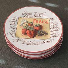 4 Williams Sonoma Rosanna Fruit Salad Plates Orange Strawberry Peach Lemon