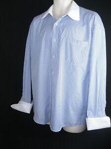 Jean Paul M (15-151/2) Blue/White Stripes  French Sleeves cuff  Shirt Euc!