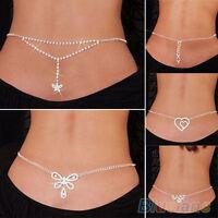 BG_ JZ_ New Sexy Silver Rhinestone Belly Waist Lower Back Chain Body Jewelry BB4
