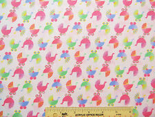 """Baby Girl """"Sleepy Time"""" Buggies Carriages Pastels Pink Cotton Fabric  BTY (M3) ^"""