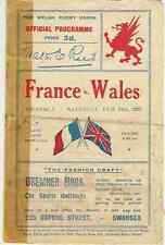 WALES v FRANCE 1923 RUGBY PROGRAMME 24 Feb at SWANSEA
