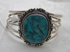 Southwest Sterling Silver Hand Stamped Cuff Bracelet With Turquoise Stone Ng20-P