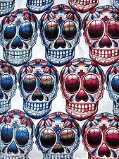 Dia de los muertos SKULL fabric jersey mexican skeleton yard candy vtg tee shirt