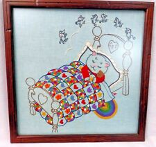 Kitten Dreams Of Dancing Mice Framed Finished Embroidery Nursery Quilt Blue Cat
