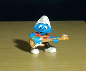 Smurfs 20450 Bass Guitar Smurf Bassist Vintage Band Figure PVC Toy Figurine 90s