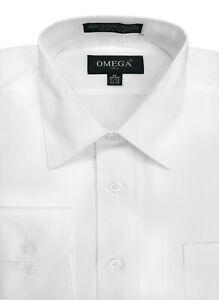 MENS White Premium Long Sleeve Dress Shirt, Various Sizes, Sleeve Length