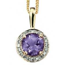Round Amethyst Fine Diamond Necklaces & Pendants