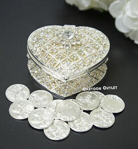 Wedding Arras Silver Heart 13 Unity Coins Rhinestones Arras De Boda plata Bridal