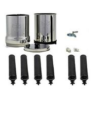 Imperial Berkey Water Filter Purify 6 Black Filters Stainless Steel Spigot New