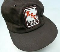 80s KSC SEEDS Farmer Trucker Hat Snapback Cap K-Products Brown Full  USA PATCH