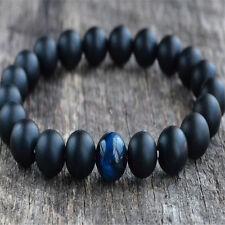 Mens Womens 8MM Blue Tiger Eye & Matte Onyx Gemstone Beads Yoga Beaded Bracelet